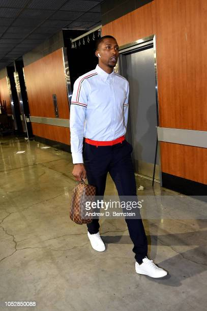 Kentavious CaldwellPope of the Los Angeles Lakers arrives to the game against the Houston Rockets on October 20 2018 at STAPLES Center in Los Angeles...