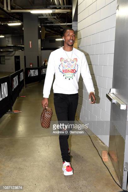 Kentavious CaldwellPope of the Los Angeles Lakers arrives to the game against the Portland Trail Blazers on November 3 2018 at Moda Center in...