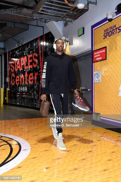 Kentavious CaldwellPope of the Los Angeles Lakers arrives to the game against the Toronto Raptors on November 4 2018 at Staples Center in Los Angeles...