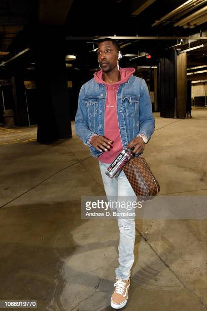 Kentavious CaldwellPope of the Los Angeles Lakers arrives to the game against the San Antonio Spurs on December 5 2018 at STAPLES Center in Los...