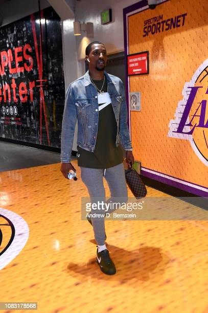 Kentavious CaldwellPope of the Los Angeles Lakers arrives to the game against the Chicago Bulls on January 15 2019 at STAPLES Center in Los Angeles...