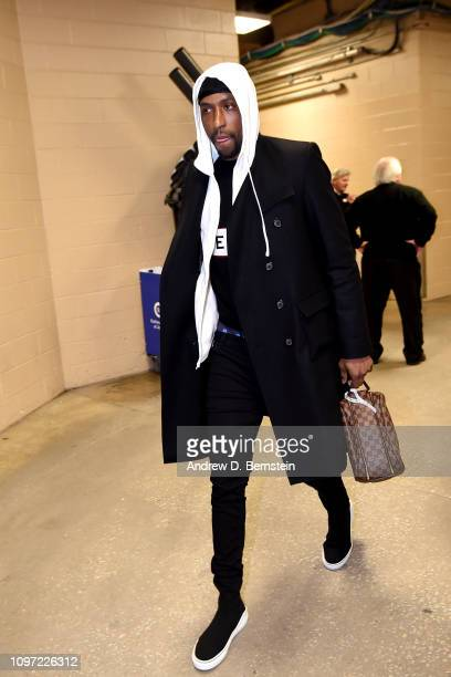 Kentavious CaldwellPope of the Los Angeles Lakers arrives to the game against the Philadelphia 76ers on February 10 2019 at the Wells Fargo Center in...