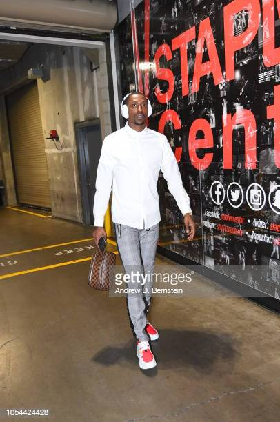 Kentavious CaldwellPope of the Los Angeles Lakers arrives to the arena prior to the game against the San Antonio Spurs on October 22 2018 at STAPLES...