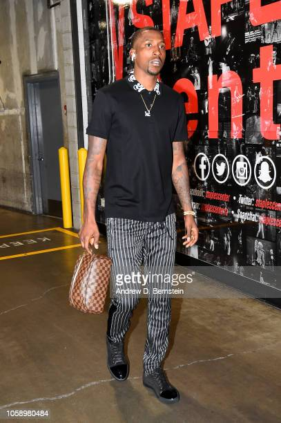 Kentavious CaldwellPope of the Los Angeles Lakers arrives to the arena prior to the game against the Minnesota Timberwolves on November 7 2018 at...