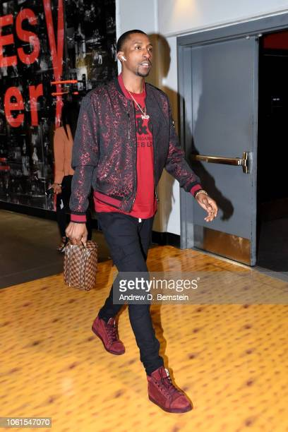 Kentavious CaldwellPope of the Los Angeles Lakers arrives to the arena prior to the game against the Portland Trail Blazers on November 14 2018 at...