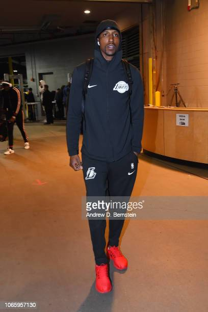 Kentavious CaldwellPope of the Los Angeles Lakers arrives to the arena prior to the game against the Denver Nuggets on November 27 2018 at the Pepsi...