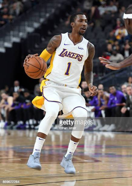 Kentavious CaldwellPope of the Los Angeles Lakers brings the ball up the court against the Sacramento Kings during their preseason game at TMobile...