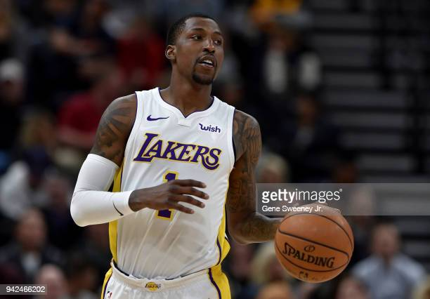Kentavious CaldwellPope of the Los Angeles Lakers brings the ball up court against the Utah Jazz in a game at Vivint Smart Home Arena on April 3 2018...