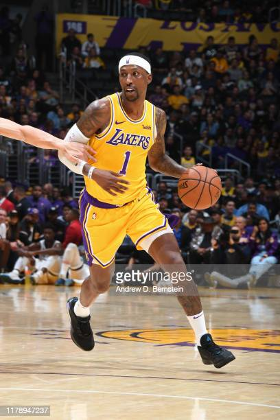 Kentavious CaldwellPope of the Los Angeles Lakers dribbles the ball against the Memphis Grizzlies on October 29 2019 at STAPLES Center in Los Angeles...