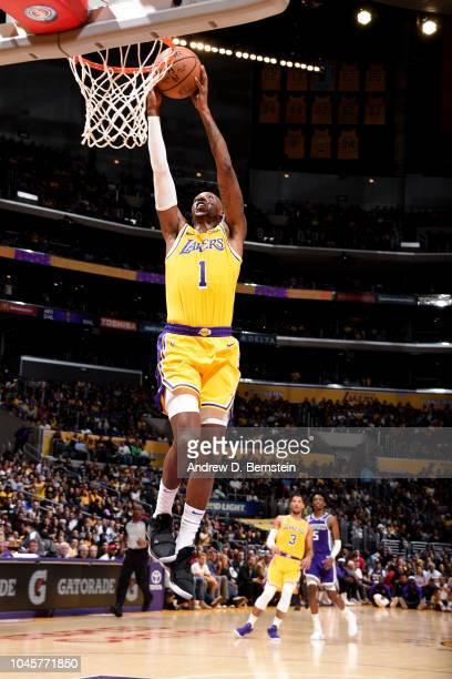 Kentavious CaldwellPope of the Los Angeles Lakers dunks the ball against the Sacramento Kings during a preseason game on October 4 2018 at STAPLES...