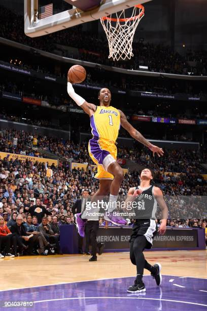 Kentavious CaldwellPope of the Los Angeles Lakers dunks the ball against the San Antonio Spurs on January 11 2018 at STAPLES Center in Los Angeles...