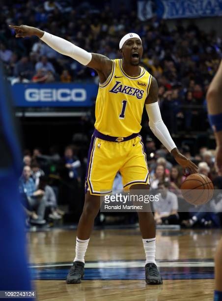Kentavious CaldwellPope of the Los Angeles Lakers during a game against the Dallas Mavericks at American Airlines Center on January 07 2019 in Dallas...