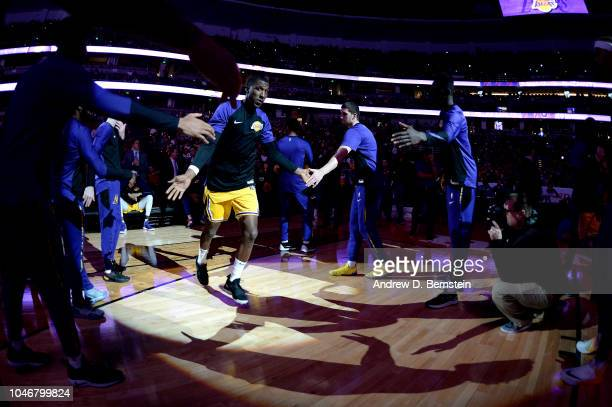 Kentavious CaldwellPope of the Los Angeles Lakers gets introduced before the game against the LA Clippers on October 6 2018 at Honda Center in...