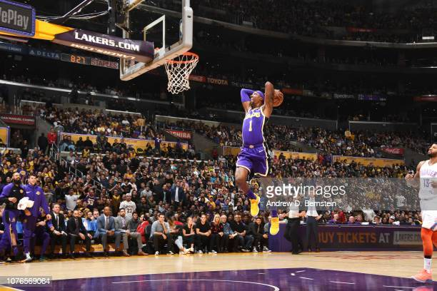Kentavious CaldwellPope of the Los Angeles Lakers goes to the basket against the Oklahoma City Thunder on January 2 2019 at STAPLES Center in Los...
