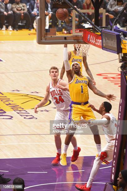 Kentavious CaldwellPope of the Los Angeles Lakers goes to the basket against the Chicago Bulls on January 15 2019 at STAPLES Center in Los Angeles...