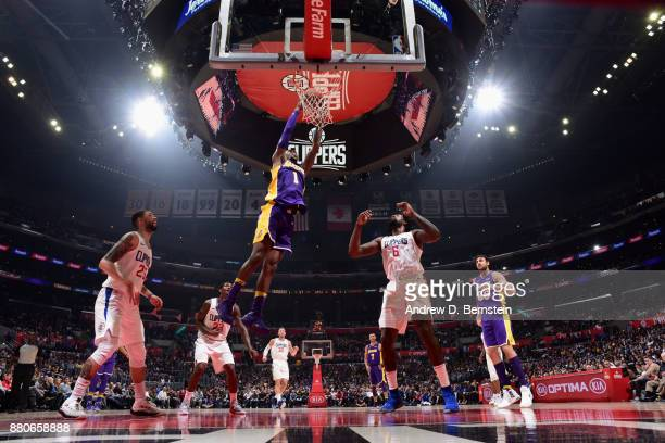 Kentavious CaldwellPope of the Los Angeles Lakers goes to the basket against the LA Clippers on November 27 2017 at STAPLES Center in Los Angeles...