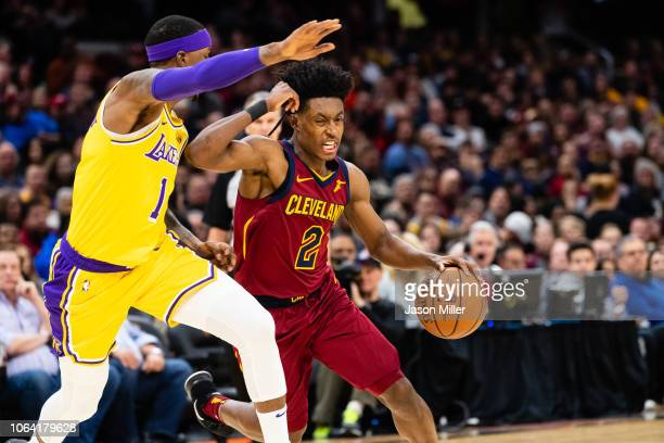 Kentavious CaldwellPope of the Los Angeles Lakers guards Collin Sexton of the Cleveland Cavaliers during the second half at Quicken Loans Arena on...