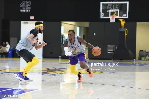 Kentavious CaldwellPope of the Los Angeles Lakers handles the ball at practice at UCLA Health Training Center on September 25 2018 in El Segundo...