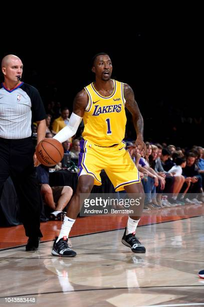 Kentavious CaldwellPope of the Los Angeles Lakers handles the ball against the Denver Nuggets during a preseason game on September 30 2018 at Valley...