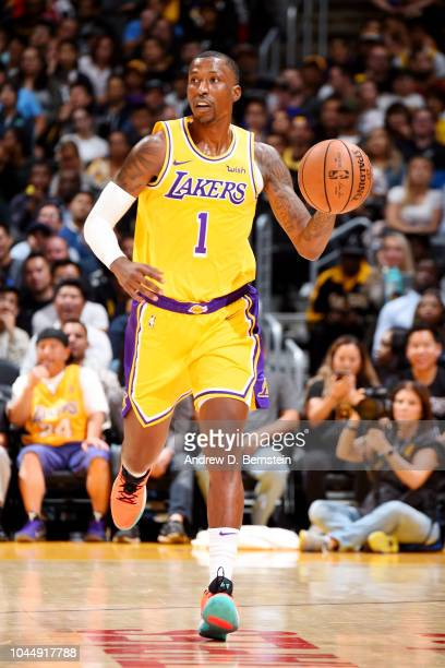 Kentavious CaldwellPope of the Los Angeles Lakers handles the ball against the Denver Nuggets during a preseason game on October 2 2018 at STAPLES...
