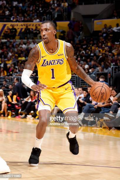 Kentavious CaldwellPope of the Los Angeles Lakers handles the ball against the Sacramento Kings during a preseason game on October 4 2018 at STAPLES...