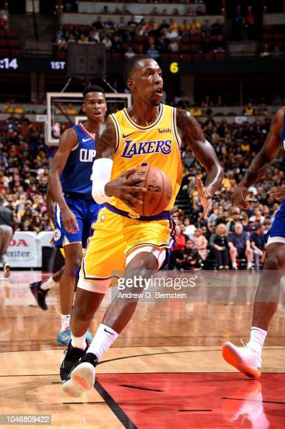 Kentavious CaldwellPope of the Los Angeles Lakers handles the ball against the LA Clippers during a preseason game on October 6 2018 at Honda Center...