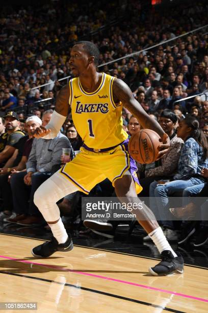 Kentavious CaldwellPope of the Los Angeles Lakers handles the ball against the Golden State Warriors during a preseason game on October 10 2018 at...