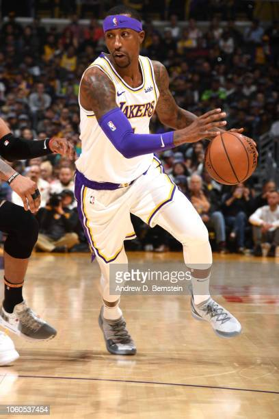 Kentavious CaldwellPope of the Los Angeles Lakers handles the ball against the Atlanta Hawks on November 11 2018 at STAPLES Center in Los Angeles...