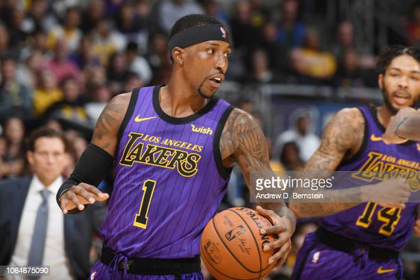 Kentavious CaldwellPope of the Los Angeles Lakers handles the ball during the game against the Utah Jazz on November 23 2018 at STAPLES Center in Los...