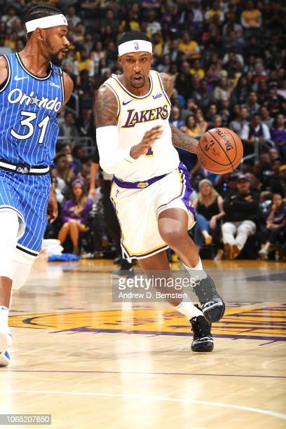 Kentavious CaldwellPope of the Los Angeles Lakers handles the ball against the Orlando Magic on November 25 2018 at STAPLES Center in Los Angeles...