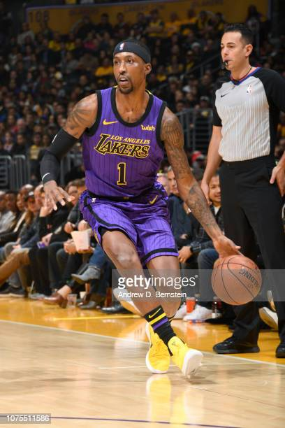 Kentavious CaldwellPope of the Los Angeles Lakers handles the ball against the LA Clippers on December 28 2018 at STAPLES Center in Los Angeles...