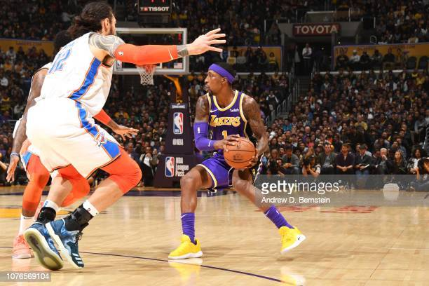 Kentavious CaldwellPope of the Los Angeles Lakers handles the ball against the Oklahoma City Thunder on January 2 2019 at STAPLES Center in Los...