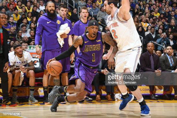Kentavious CaldwellPope of the Los Angeles Lakers handles the ball against the New York Knicks on January 4 2019 at STAPLES Center in Los Angeles...
