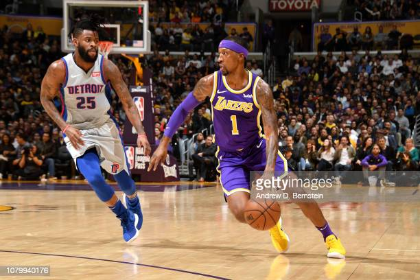Kentavious CaldwellPope of the Los Angeles Lakers handles the ball against the Detroit Pistons on January 9 2019 at STAPLES Center in Los Angeles...