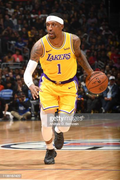 Kentavious CaldwellPope of the Los Angeles Lakers handles the ball against the LA Clippers on April 5 2019 at STAPLES Center in Los Angeles...