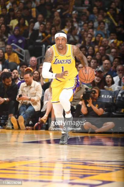 Kentavious CaldwellPope of the Los Angeles Lakers handles the ball against the Portland Trail Blazers on April 9 2019 at STAPLES Center in Los...