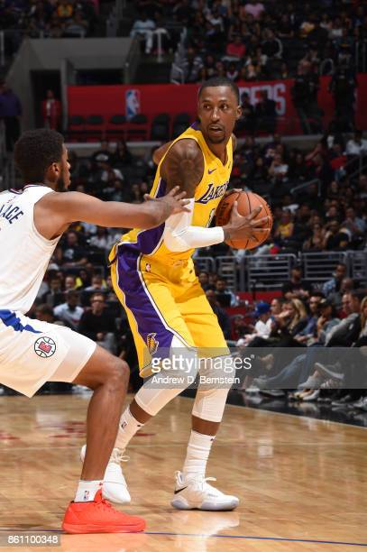 Kentavious CaldwellPope of the Los Angeles Lakers handles the ball against the LA Clippers on October 13 2017 at STAPLES Center in Los Angeles...