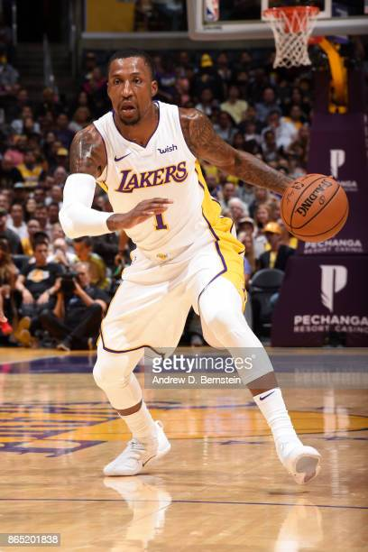 Kentavious CaldwellPope of the Los Angeles Lakers handles the ball during the game against the New Orleans Pelicans on October 22 2017 at STAPLES...