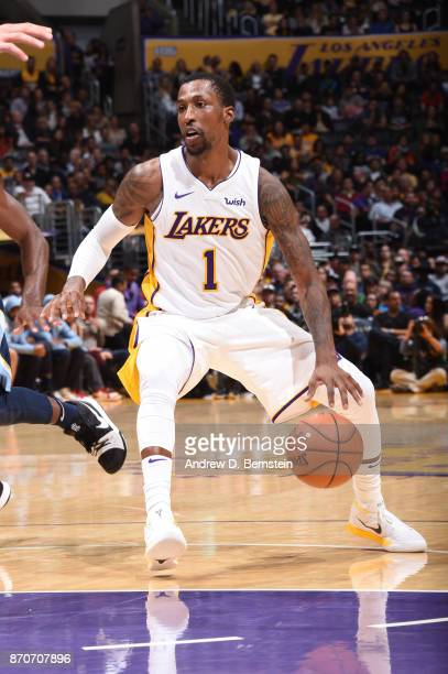 Kentavious CaldwellPope of the Los Angeles Lakers handles the ball against the Memphis Grizzlies on November 5 2017 at STAPLES Center in Los Angeles...