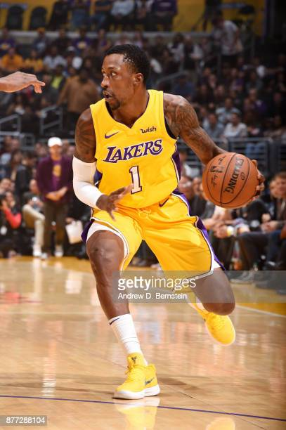 Kentavious CaldwellPope of the Los Angeles Lakers handles the ball against the Chicago Bulls on November 21 2017 at STAPLES Center in Los Angeles...