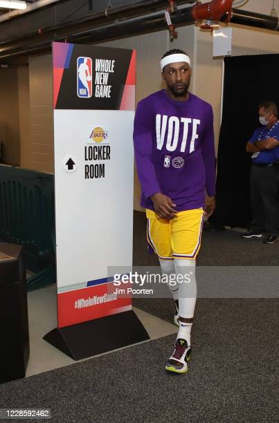 Kentavious CaldwellPope of the Los Angeles Lakers heads to the court after halftime against the Denver Nuggets in Game one of the Western Conference...