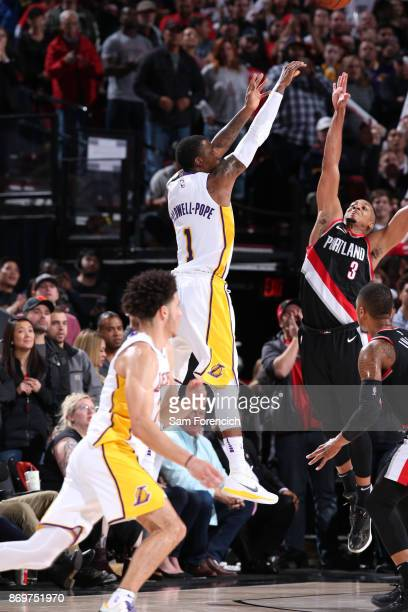 Kentavious CaldwellPope of the Los Angeles Lakers hits the game tying basket against the Portland Trail Blazers on November 2 2017 at the Moda Center...