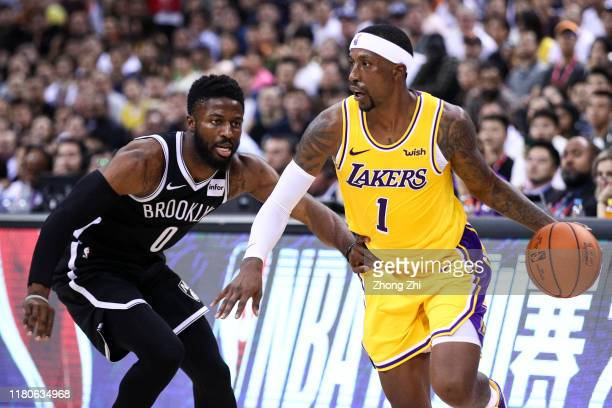 Kentavious Caldwell-Pope of the Los Angeles Lakers in action during the match against David Nwaba of the Brooklyn Nets during a preseason game as...