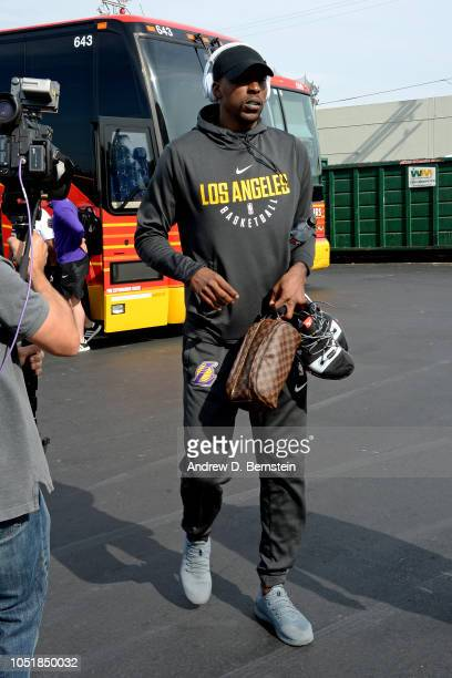Kentavious CaldwellPope of the Los Angeles Lakers is seen before the game against the Denver Nuggets on September 30 2018 at Valley View Casino...