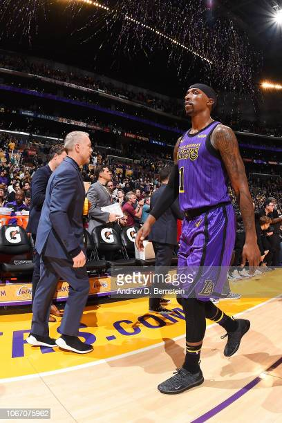Kentavious CaldwellPope of the Los Angeles Lakers looks on after the game against the Dallas Mavericks on November 30 2018 at STAPLES Center in Los...