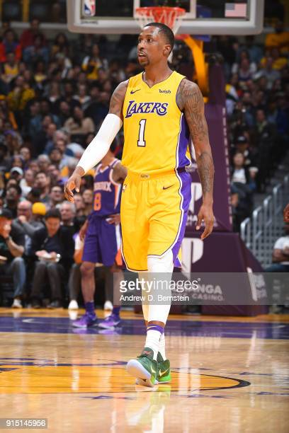 Kentavious CaldwellPope of the Los Angeles Lakers looks on during the game against the Phoenix Suns on February 6 2018 at STAPLES Center in Los...