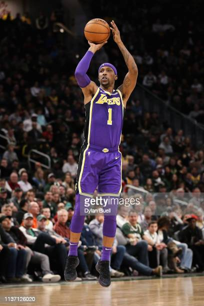 Kentavious CaldwellPope of the Los Angeles Lakers looks on in the fourth quarter against the Milwaukee Bucks at the Fiserv Forum on March 19 2019 in...