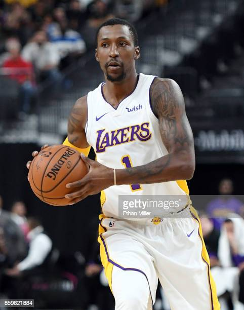 Kentavious CaldwellPope of the Los Angeles Lakers looks to pass against the Sacramento Kings during their preseason game at TMobile Arena on October...