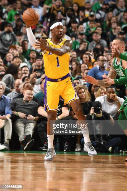 Kentavious CaldwellPope of the Los Angeles Lakers passes the ball against the Boston Celtics on February 7 2019 at the TD Garden in Boston...