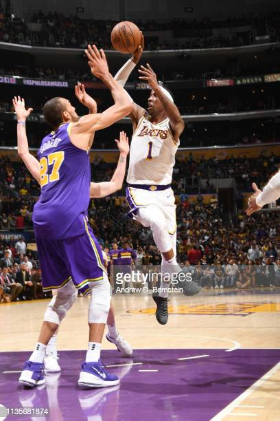 Kentavious CaldwellPope of the Los Angeles Lakers passes the ball against the Utah Jazz on April 7 2019 at STAPLES Center in Los Angeles California...